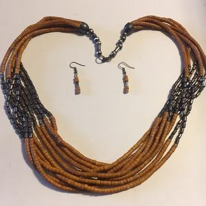 Vintage African beaded necklace earrings